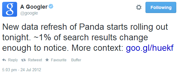 Google panda 4.0 tweet - User Actions    Following   A GooglerVerified account ‏@google New data refresh of Panda starts rolling out tonight. ~1% of search results change enough to notice. More context