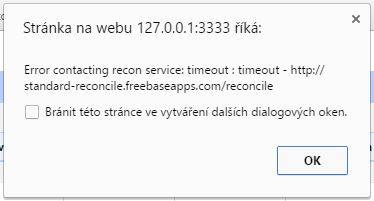 OpenRefine Error contacting recon service: timeout : timeout - http://standard-reconcile.freebaseapps.com/reconcile